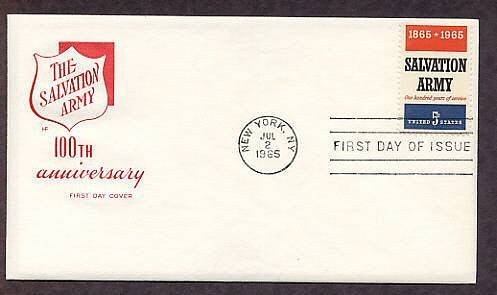Salvation Army Centennial, 1965 First Issue FDC USA