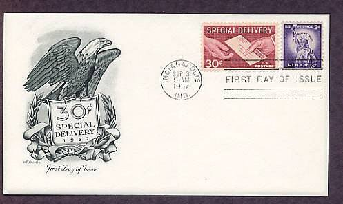 Special Delivery, American Bald Eagle, 1957 First Day of Issue USA