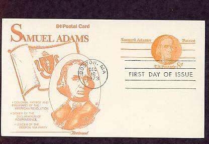 Honoring Revolutionary War Patriot Samual Adams, First Issue USA