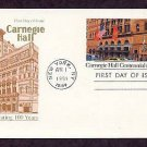 100th Anniversary Carnegie Hall, USPS Postal Card,  First Issue USA