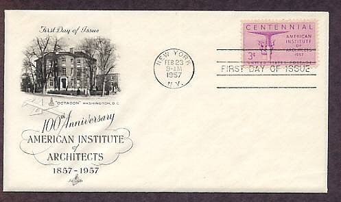 100th Anniversary American Institute of Architects, 1957 First Issue USA
