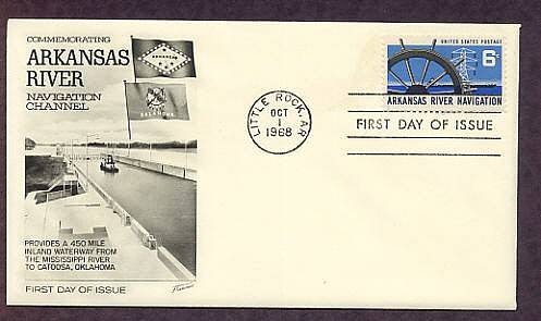 Arkansas River Navigation, Ship's Wheel, Electric Power Transmission Tower, Barge, First Issue USA