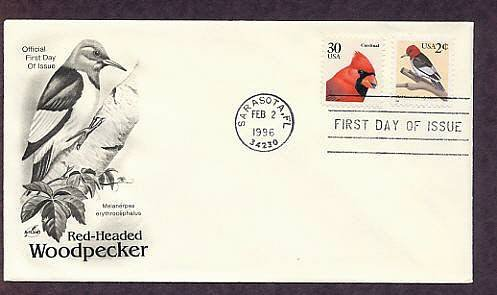 Red-Headed Woodpecker, Melanerpes erythrocephalus, First Issue USA