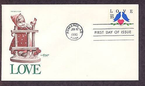 1990 Love Postage Stamp, Love, Doves, Heart, Shakespeare, First Issue USA