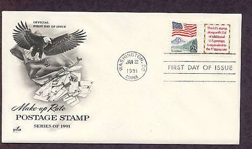 Make-Up Rate Poatage Stamp, Eagle, Mail, 1991 First Issue USPS USA