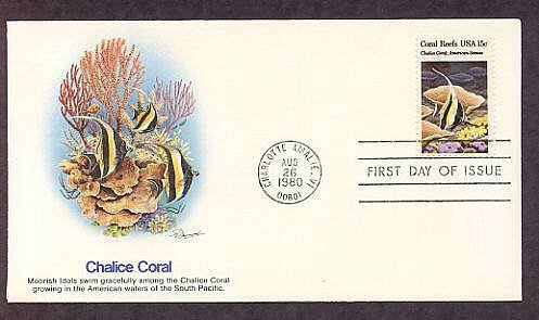 Coral Reefs, Tropical Fish, Chalice Coral & Moorish Idol, First Issue FDC