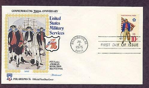 Bicentennial Revolutionary War Uniforms, Continental Navy, First Day Issue Cover, 1975 USA