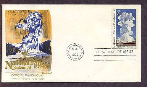 Yellowstone National Park, Old Faithful, Wyoming, Fleet. First Issue USA