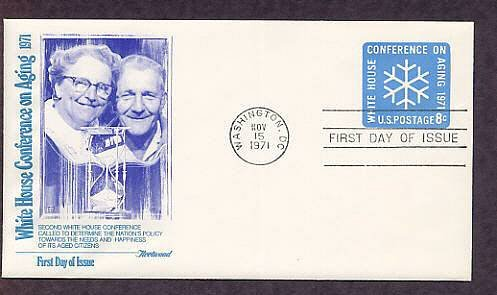 White House Conference on Aging 1971 Postage Stamp Embossed Envelope, First Issue USA