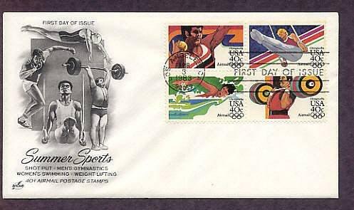 Summer Olympics 1984, Shot Put, Men's Gymnastics, Women's Swimming, Weight Lifting, First Issue USA