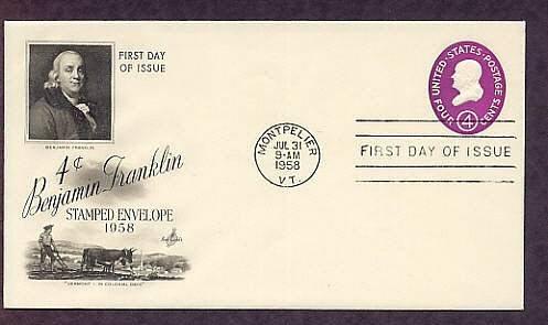 Benjamin Franklin, U.S Postage Embossed Envelope, 1958 First Issue USA