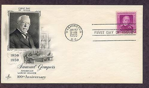 100th Anniversary of the Birth of American Labor Leader Samuel Gompers, 1950 First Issue USA
