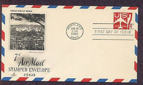 Airmail Embossed Envelope, Jet Airliner, 1960 First Issue USA