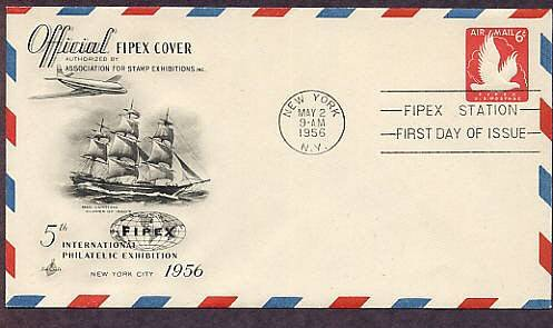 Fifth International Philatelic Exhibition 1956, FIPEX, Air Mail Embossed Envelope, Clipper, FDC