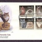 Cats, Siamese, Himalayan, Maine Coon, Persian Shorthair, Abyssinian, Burmese, FW First Issue USA