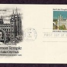 Mormon Temple, Salt Lake City, Utah, Brigham Young, Postal Card First Issue USA
