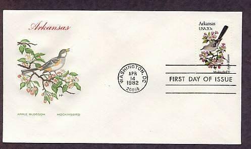 Arkansas Birds and Flowers, Mockingbird, Apple Blossom, HF First Issue USA