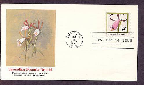 Native American Orchids, Spreading Pogonia, Cleistes divaricata, FW First Issue USA
