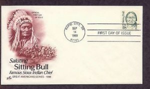 Sioux Chief Sitting Bull Native American Indian First Issue AC FDC USA