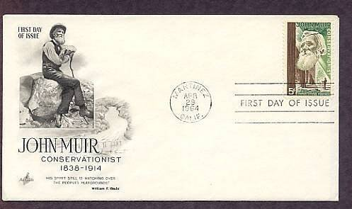 Naturalist John Muir, Giant Sequoia Trees, Conservation, AC First Issue USA