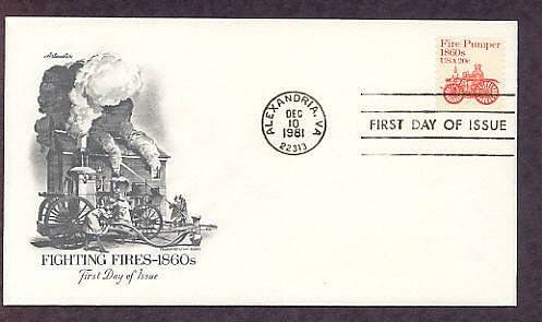Horse Drawn Amoskeag Fire Pumper 1860s, Firefighters, AM First Issue USA