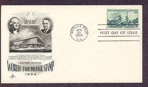 New York World's Fair Stamp, Unisphere, AC 1964 First Issue FDC USA