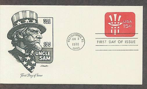 Uncle Sam Embossed Envelope, Symbol of American Patriotism, First Issue USA