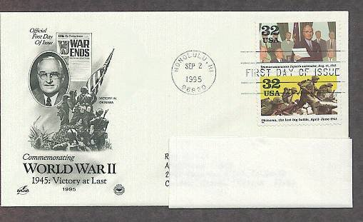 World War II 1945 Victory at Last, Japan's Surrender, Victory in Okinawa, PCS, FDC