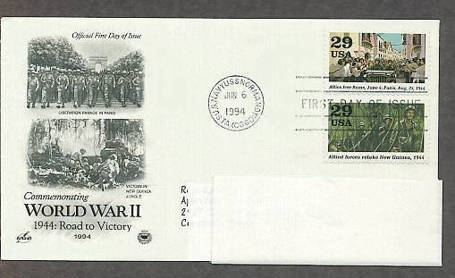 World War II 1944 Road to Victory, Rome Liberation Parade, Victory in New Guinea, PCS, FDC