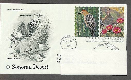 Sonoran Desert, Gila Woodpecker, Desert Cottontail, PCS Addressed, FDC