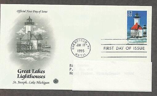 Great Lakes Lighthouses, St. Joseph, Lake Michigan, PCS First Issue USA