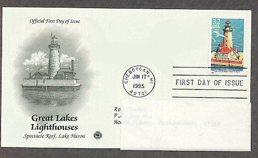 Great Lakes Lighthouses, Spectacle Reef, Lake Huron, Michigan, PCS First Issue USA