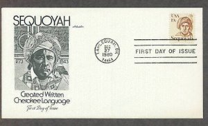 Native American, Honoring Cherokee Indian Sequoyah, Oklahoma, AM First Issue USA