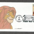 Walt Disney Animation Cartoon Characters Art, The Lion King, Mufasa, Simba, First Issue FDC USA