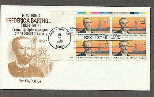 Frederic Bartholdi, Sculptor of the Statue of Liberty, Plate Block, First Issue FDC USA