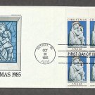 Christmas, Madonna and Child Enameled Terra Cotta, Sculptor Luca della Robbia, Plate Block 1985 FDC