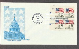 U. S. Capitol, American Flag, 1985 Plate Block First Issue FDC USA
