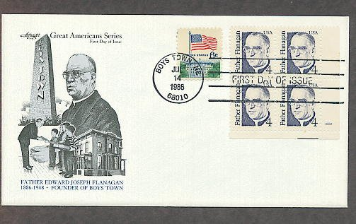 Father Edward Joseph Flanagan, Founder of Boys Town, Nebraska, Plate Block First Issue USA