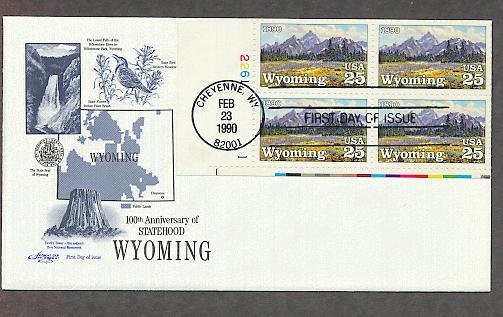 Centennial Wyoming Statehood, High Mountain Meadows by Conrad Schwiering, Plate Block First Issue