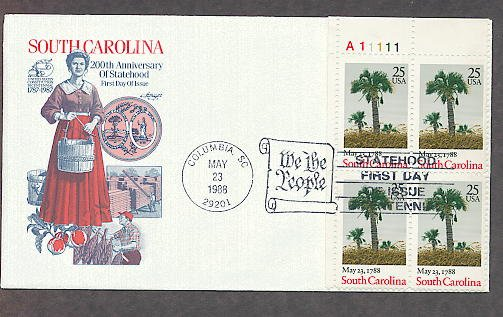 South Carolina Statehood Bicentennial, Palmetto Trees, Plate Block First Issue USA