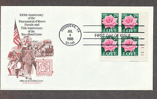 1988 Love Stamp, Rose, Tournament of  Roses Parade, Rose Bowl Game, Plate Block First Issue USA