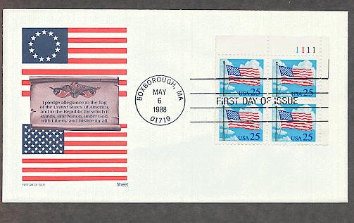 The American Flag, A Salute to Old Glory, Pledge of Allegiance, Plate Block First Issue USA