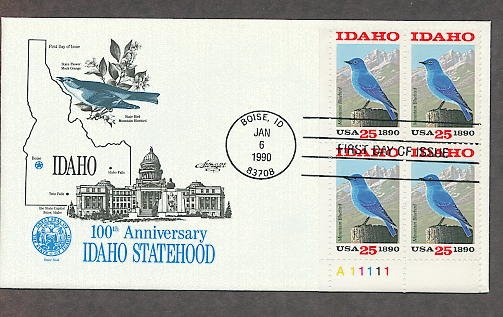 Idaho Statehood Centennial, Mountain Bluebird, Plate Block First Issue USA