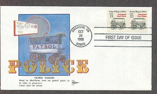 Police Patrol Wagon 1880s, Gill Craft, First Day of Issue USA