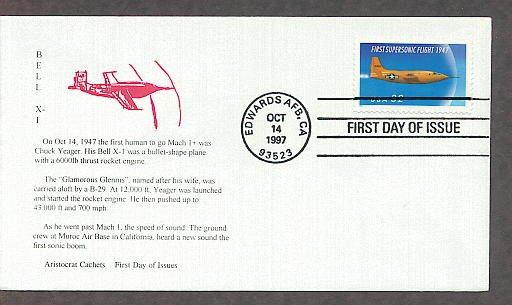 First Supersonic Flight 1947, Bell X-1 Rocket Aircraft, Chuck Yeager, First Issue USA!