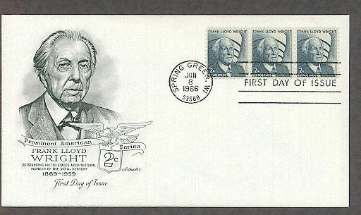 Honoring Frank Lloyd Wright Architecture 1966 AM First Issue FDC USA!