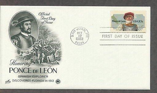 Spanish Conquistador and Florida Explorer Ponce de Leon, PCS First Issue USA!