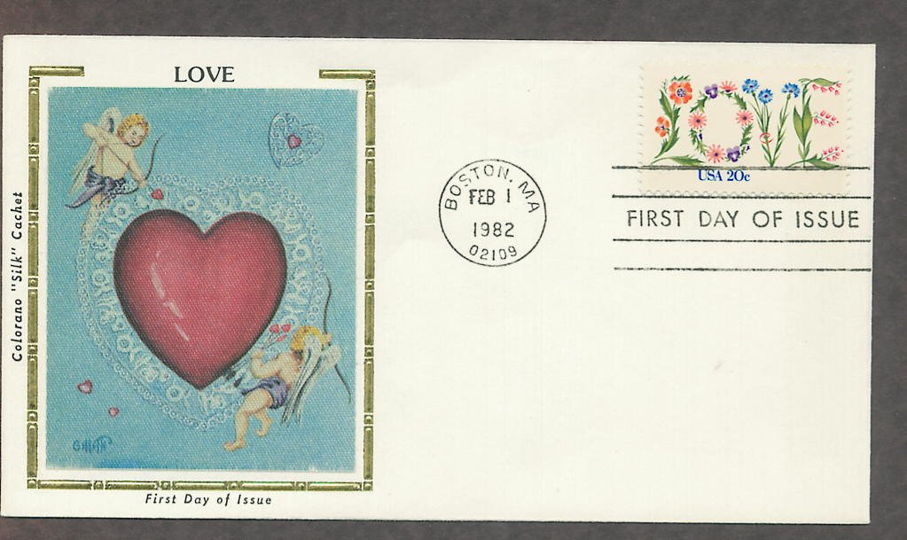 Love in Flowers Stamp, USPS, Heart, Cupid, Silk First Issue USA!