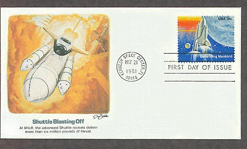 NASA Mission, Space Shuttle Blast Off, 1981 Kennedy Space Center First Issue USA!
