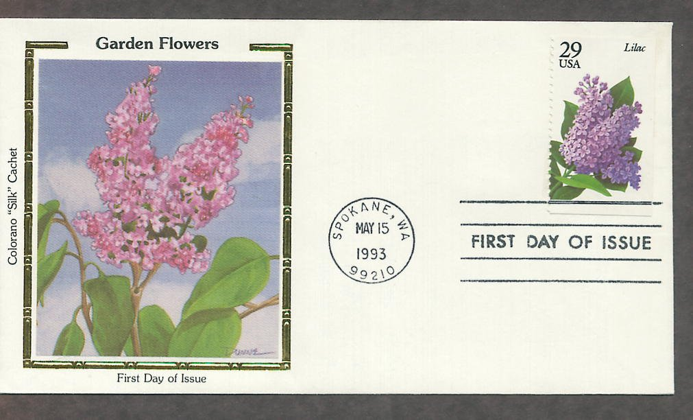 Garden Flowers, Lilac, Colorano Silk, First Issue USA!